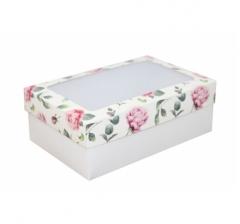 Коробка подарочная с окном 230*150*80, дизайн 2020-28 с белым дном