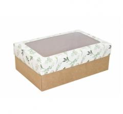 Коробка подарочная с окном 230*150*80, дизайн 2020-25 с крафт дном