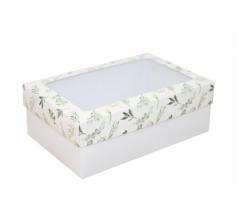 Коробка подарочная с окном 230*150*80, дизайн 2020-25 с белым дном
