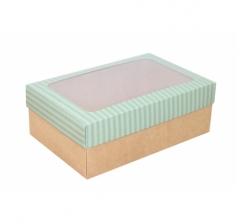 Коробка подарочная с окном 230*150*80, дизайн 2020-31 с крафт дном