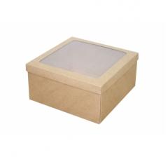 Коробка подарочная с окном 200*200*100 мм, крафт