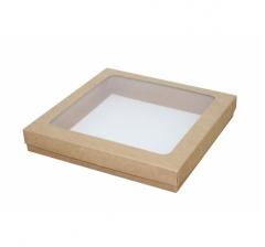 Коробка подарочная с окном 200*200*30 мм, крафт