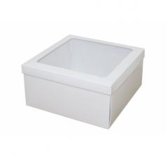 Коробка подарочная с окном 200*200*100 мм, белая