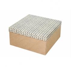 Коробка подарочная 200*200*100 мм, дизайн 2020-12, крафт дно