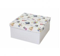 Коробка подарочная 200*200*100 мм, дизайн 2020-8, белое дно