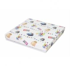 Коробка подарочная 200*200*30 мм, дизайн 2020-8, с белым дном