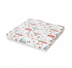 Коробка подарочная 200*200*30 мм, дизайн 2020-11, с белым дном
