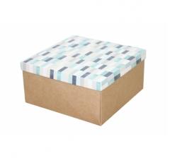 Коробка подарочная 200*200*100 мм, дизайн 2020-10, крафт дно