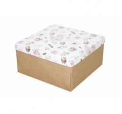 Коробка подарочная 200*200*100 мм, дизайн 2020-3, крафт дно