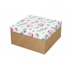 Коробка подарочная 200*200*100 мм, дизайн 2020-4, крафт дно