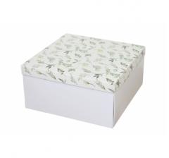 Коробка подарочная 200*200*100 мм, дизайн 2020-1, белое дно