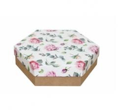 Коробка подарочная 200*200*60 мм, дизайн 2020-4, крафт дно