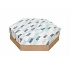 Коробка подарочная 200*200*60 мм, дизайн 2020-10, крафт дно