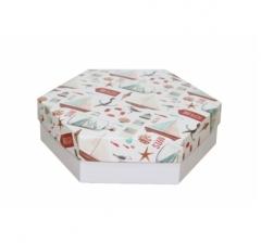 Коробка подарочная 200*200*60 мм, дизайн 2020-11, белое дно