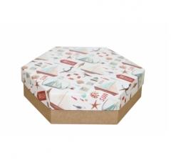 Коробка подарочная 200*200*60 мм, дизайн 2020-11, крафт дно