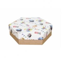 Коробка подарочная 200*200*60 мм, дизайн 2020-8, крафт дно