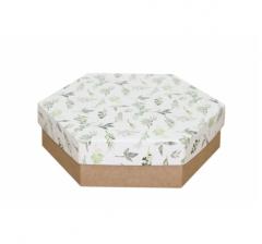 Коробка подарочная 200*200*60 мм, дизайн 2020-1, крафт дно
