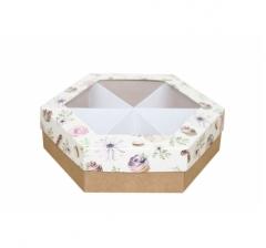 Коробка подарочная с окном 200*200*60 мм, дизайн 2020-3, крафт дно