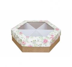 Коробка подарочная с окном 200*200*60 мм, дизайн 2020-2, крафт дно