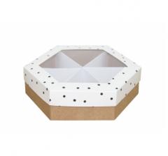 Коробка подарочная с окном 200*200*60 мм, дизайн 2020-9, крафт дно