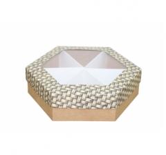 Коробка подарочная с окном 200*200*60 мм, дизайн 2020-12, крафт дно