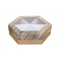 Коробка подарочная с окном 200*200*60 мм, дизайн 2020-5, крафт дно