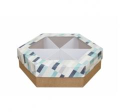 Коробка подарочная с окном 200*200*60 мм, дизайн 2020-10, крафт дно