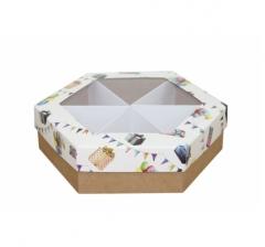 Коробка подарочная с окном 200*200*60 мм, дизайн 2020-8, крафт дно