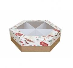Коробка подарочная с окном 200*200*60 мм, дизайн 2020-11, крафт дно