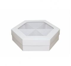 Коробка подарочная с окном 200*200*60 мм, белая