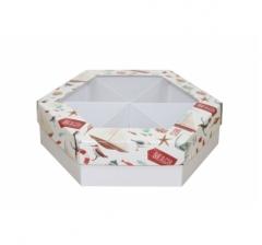 Коробка подарочная с окном 200*200*60 мм, дизайн 2020-11, белое дно