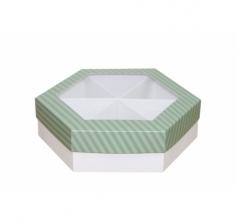 Коробка подарочная с окном 200*200*60 мм, дизайн 2020-7, белое дно