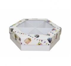 Коробка подарочная с окном 200*200*60 мм, дизайн 2020-8, белое дно