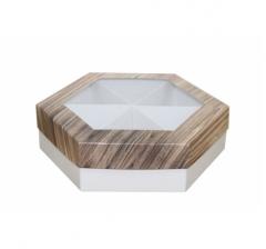 Коробка подарочная с окном 200*200*60 мм, дизайн 2020-5, белое дно