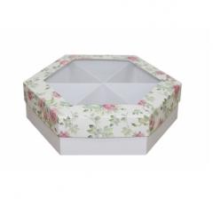 Коробка подарочная с окном 200*200*60 мм, дизайн 2020-2, белое дно