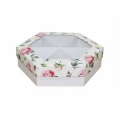 Коробка подарочная с окном 200*200*60 мм, дизайн 2020-4, белое дно