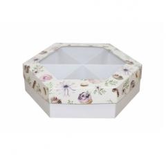 Коробка подарочная с окном 200*200*60 мм, дизайн 2020-3, белое дно