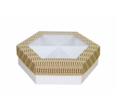 Коробка подарочная с окном 200*200*60 мм, дизайн 2020-6, белое дно