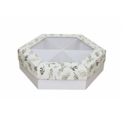 Коробка подарочная с окном 200*200*60 мм, дизайн 2020-1, белое дно