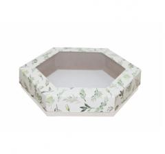 Коробка подарочная с окном 200*200*40 мм, дизайн 2020-1, белое дно