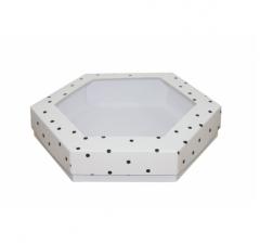 Коробка подарочная с окном 200*200*40 мм, дизайн 2020-9, белое дно