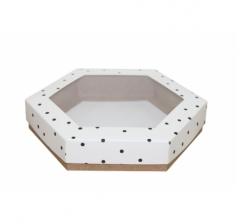 Коробка подарочная с окном 200*200*40 мм, дизайн 2020-9, крафт дно
