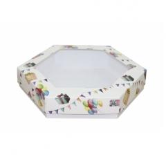 Коробка подарочная с окном 200*200*40 мм, дизайн 2020-8, белое дно