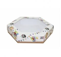 Коробка подарочная с окном 200*200*40 мм, дизайн 2020-8, крафт дно