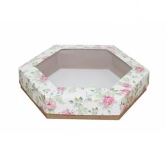 Коробка подарочная с окном 200*200*40 мм, дизайн 2020-2, крафт дно
