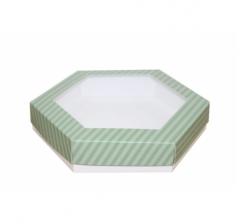 Коробка подарочная с окном 200*200*40 мм, дизайн 2020-7, белое дно