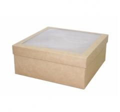 Коробка подарочная с окном 245*245*100 мм, крафт