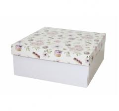 Коробка подарочная 245*245*100 мм, дизайн 2020-3, белое дно
