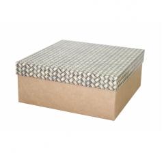 Коробка подарочная 245*245*100 мм, дизайн 2020-12, крафт дно