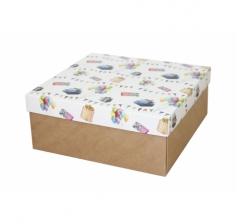 Коробка подарочная 245*245*100 мм, дизайн 2020-8, крафт дно